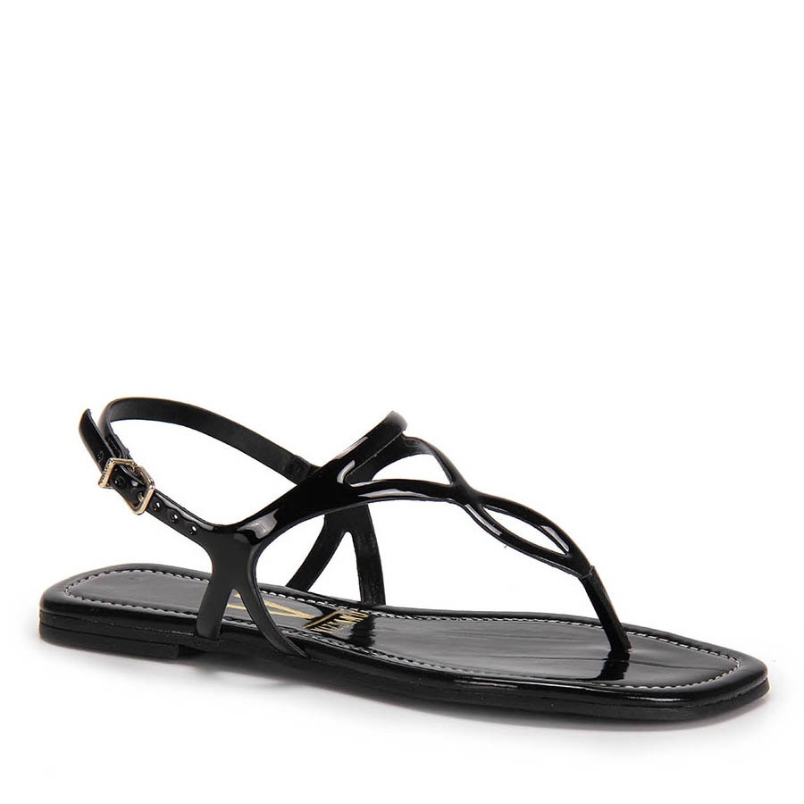 08b33d6b81 sandália rasteira vizzano verniz - preto. Carregando zoom.