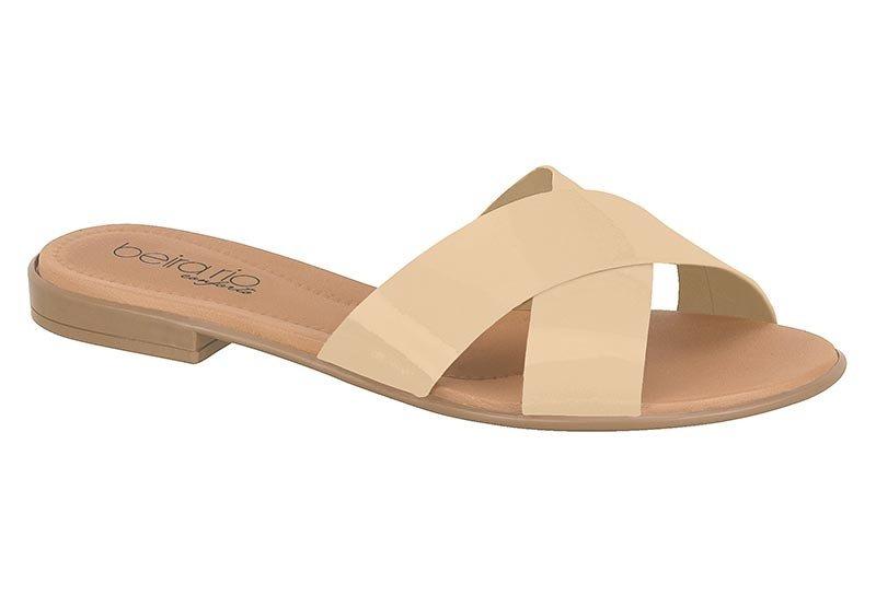 630cd17bf sandália rasteirinha feminina beira rio verniz bege 8350103. Carregando  zoom.