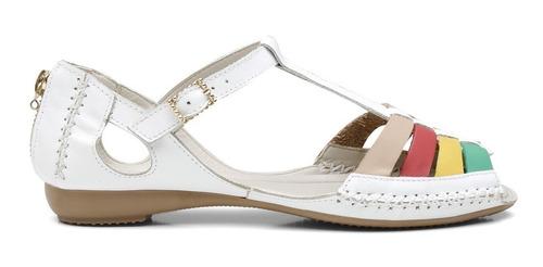 sandália rasteirinha feminina casual em couro bm 710