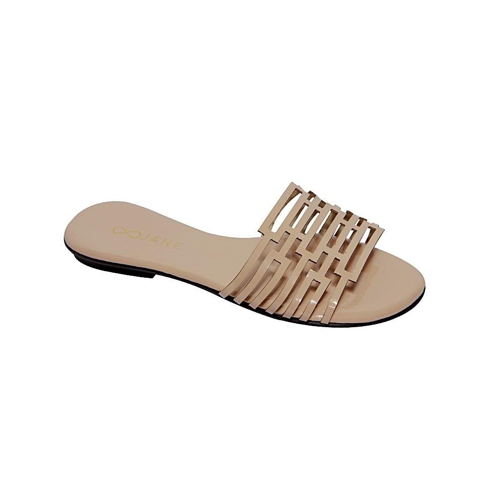 ba8a5f363 sandália rasteirinha flat tira vazada laser verniz. Carregando zoom.