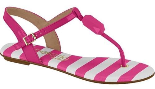 sandália rasteirinha verniz pedraria rosa pink beira rio