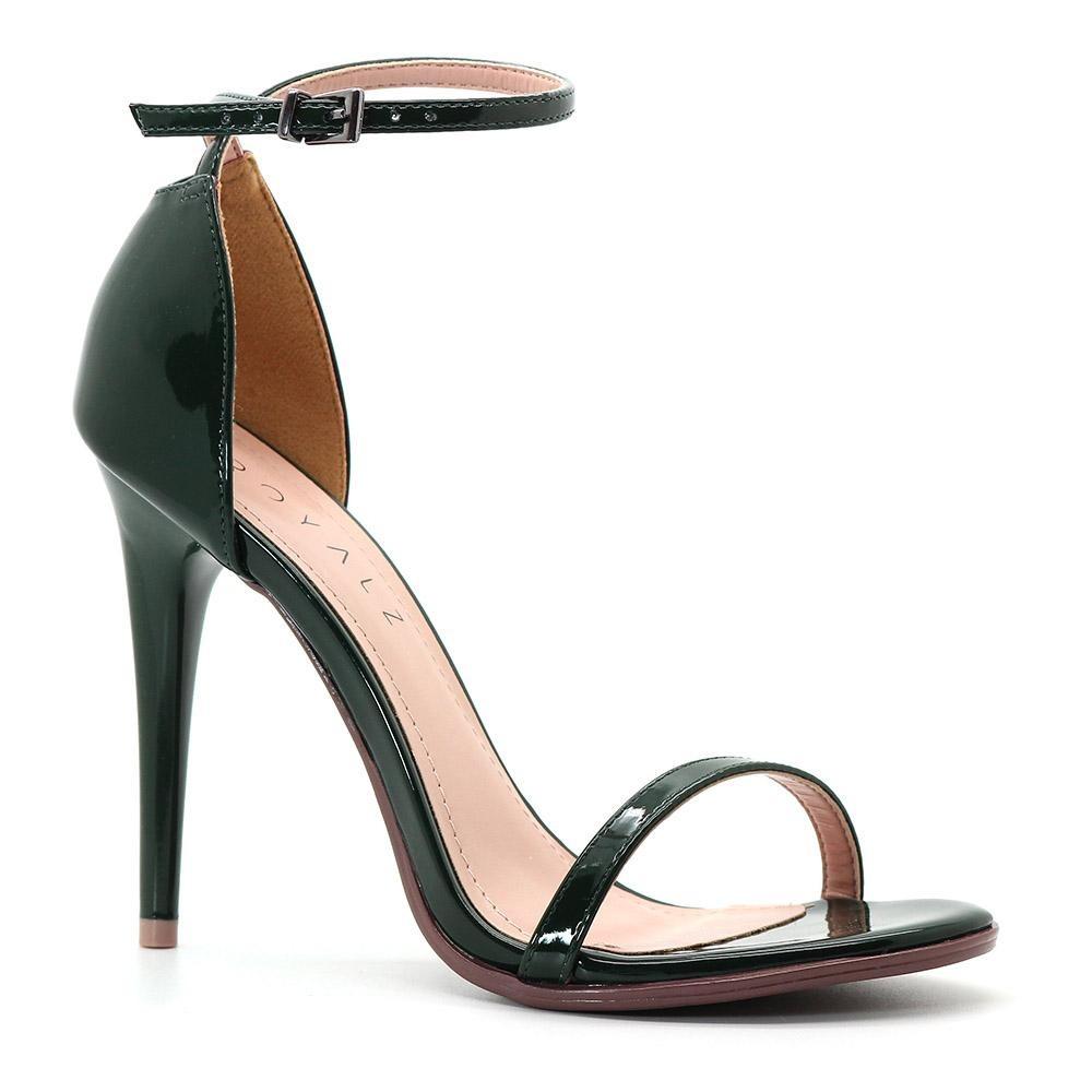 1c0c3e6588 sandália royalz verniz salto alto fino tira verde escuro. Carregando zoom.