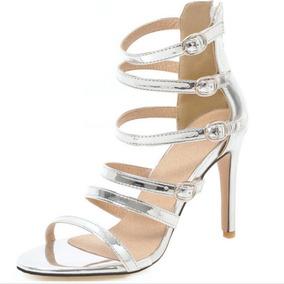 0af6fb8cf4 Sandalia Gladiadora Salto Alto Prata - Sapatos no Mercado Livre Brasil