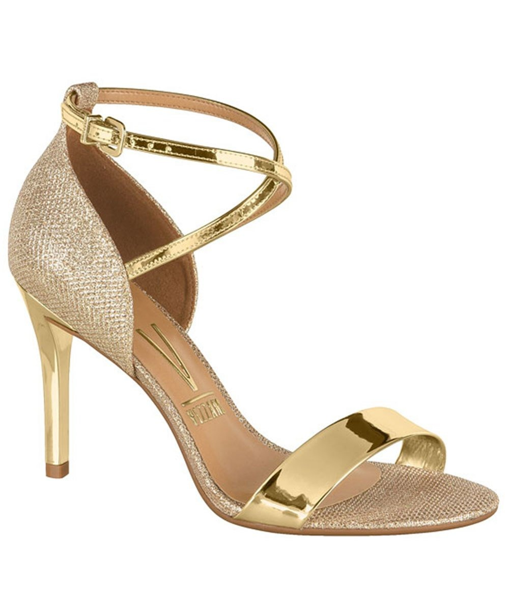 d9f251be4 sandália salto alto metalizada dourado vizzano 6306319. Carregando zoom.