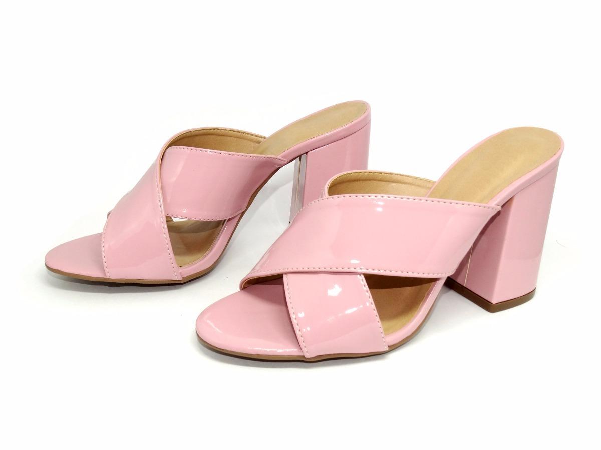 70da096baa sandália salto alto quadrado grosso mule rosa e preta verniz. Carregando  zoom.