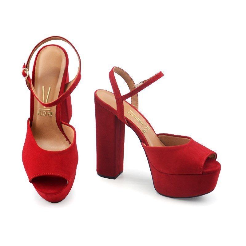 fd17b0d8e sandália salto alto vizzano nobuck nice vermelho - 6282100. Carregando zoom.