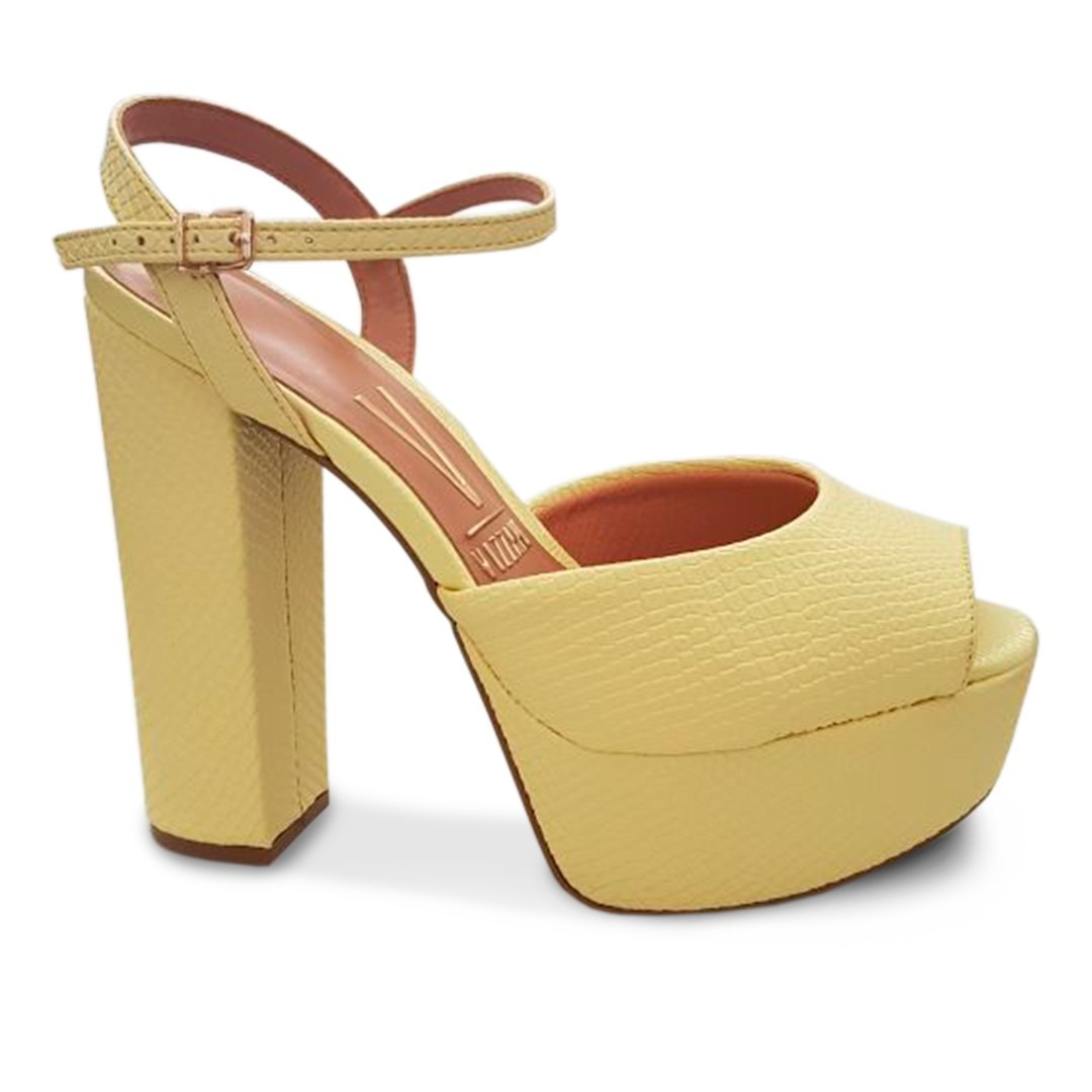 1ee3ae4a83 sandália salto alto vizzano super lançamento amarela. Carregando zoom.