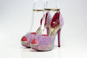 7f1fbc897fe Sandália Salto Alto Week Shoes Glitter Furtacor Lilás