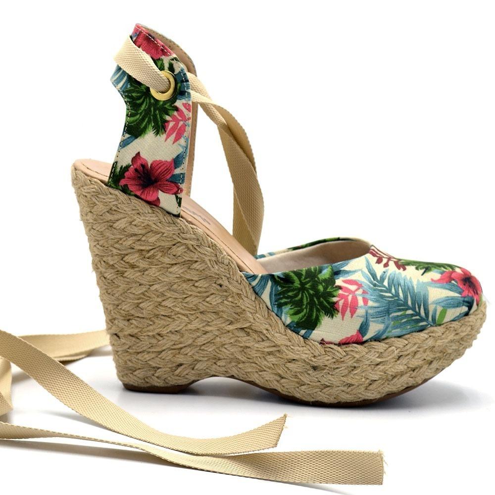 6195f4efd sandália salto anabela espadrille tecido floral e laço fi. Carregando zoom.