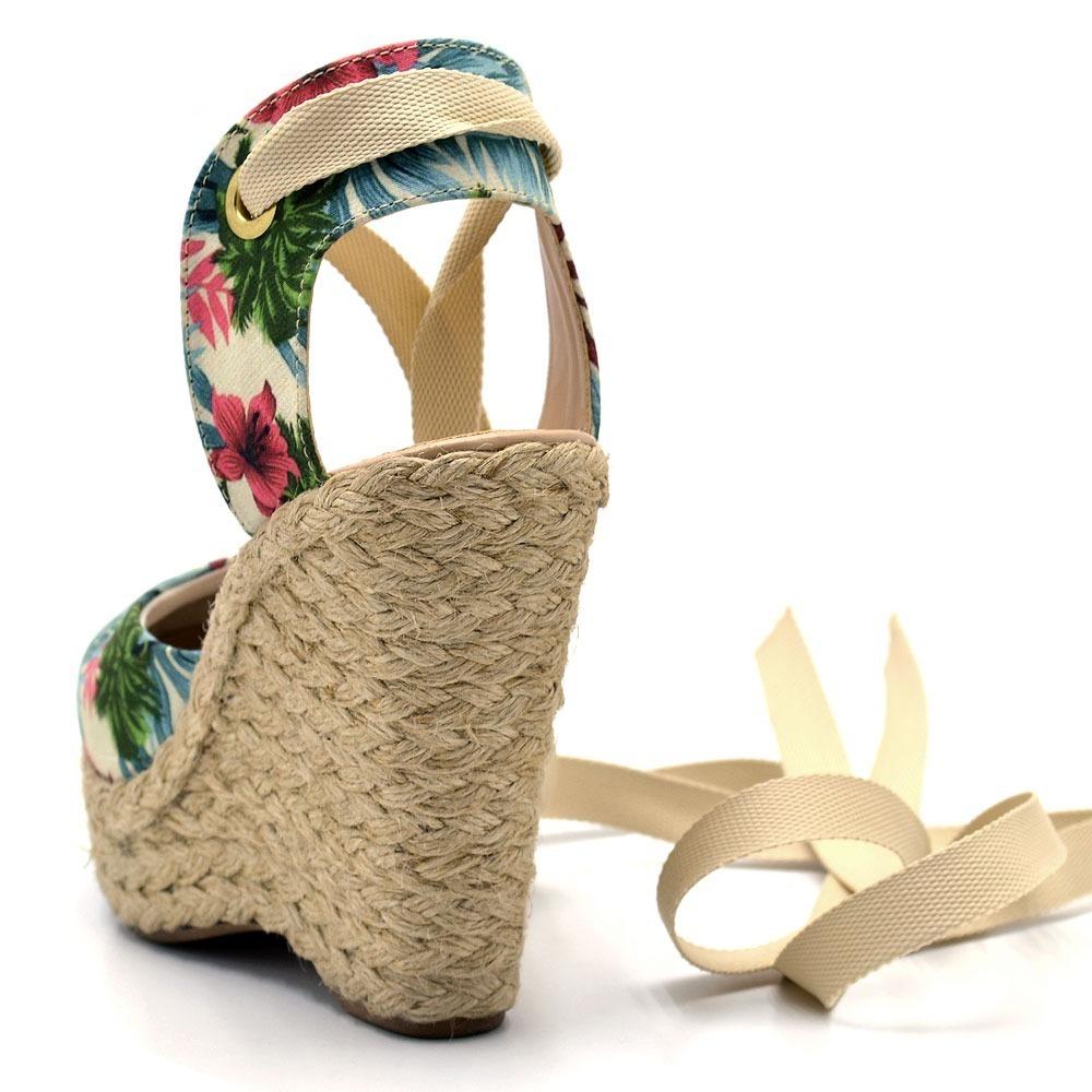508c99232 sandália salto anabela espadrille tecido floral e laço fi. Carregando zoom.