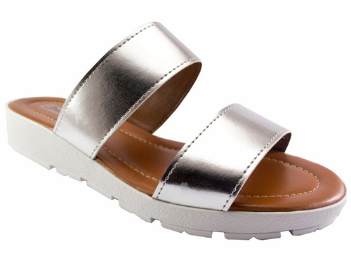sandália salto baixo branca, preta, prata e dourada ref: 635