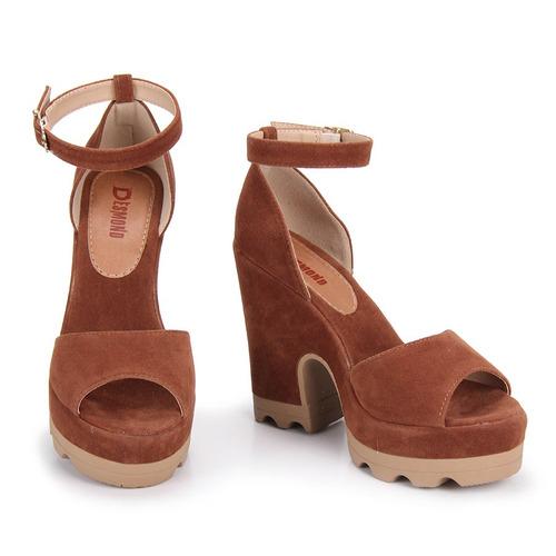 191fbd719 Sandália Salto Feminina Desmond - Caramelo - R$ 139,99 em Mercado Livre