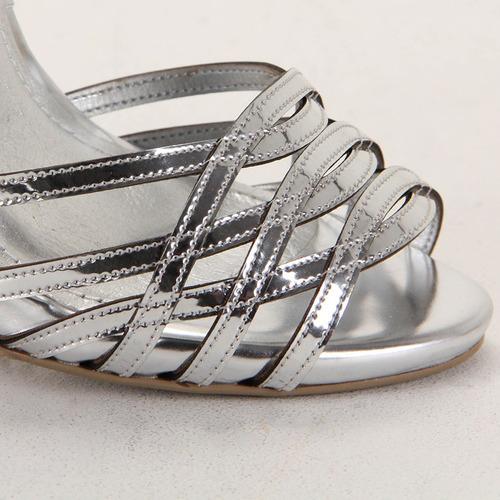 sandália salto feminina lara - prata