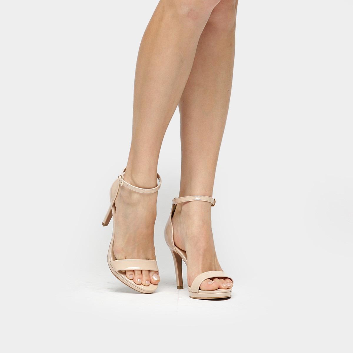 90a7ede9cc sandália salto fino feminina bebecê nude - frete grátis. Carregando zoom.