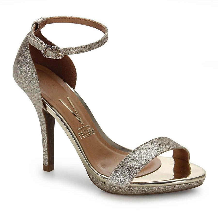 39dca1fb3 sandália salto fino vizzano glitter - dourado. Carregando zoom.