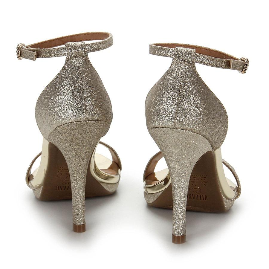 1a6178b4e sandália salto fino vizzano glitter - dourado. Carregando zoom.