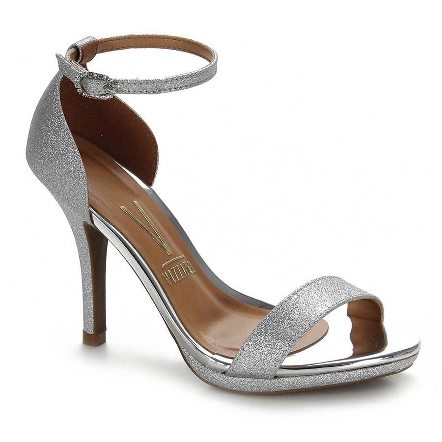 591f953e9 sandália salto fino vizzano glitter - prata. Carregando zoom.