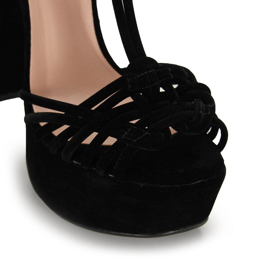 6a66f821a sandália salto grosso alto lara - preto. Carregando zoom.