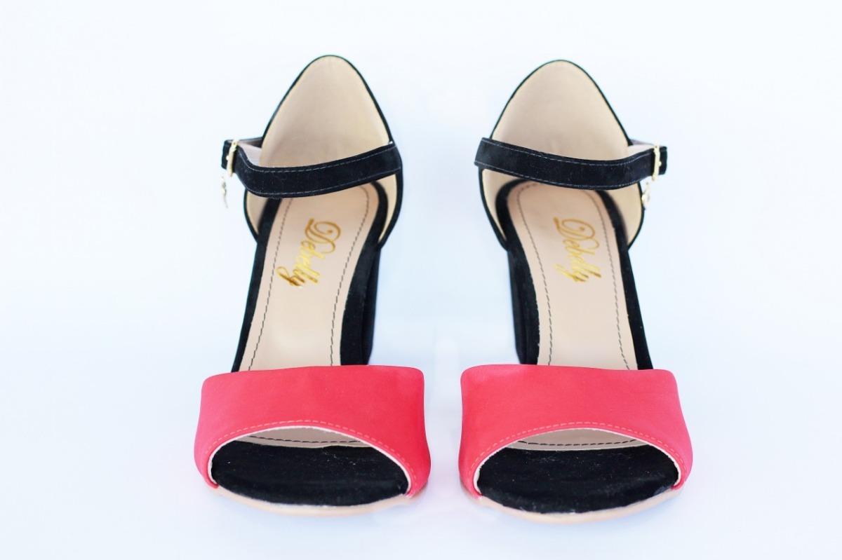 ae5a6f2998 sandália salto grosso alto médio peep toe boneca linda cores. Carregando  zoom.