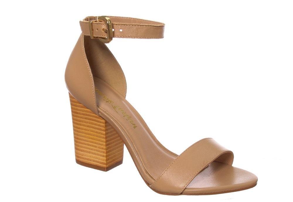 3691389f09 sandália salto grosso conceito fashion couro madeira palha. Carregando zoom.