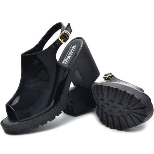 sandália salto grosso verniz confortável barato promoção