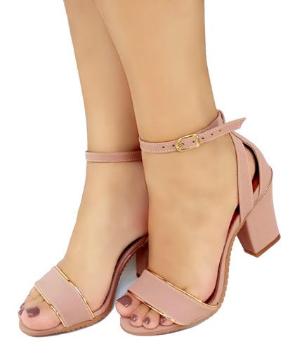 sandália salto médio cunha rosa bellatotti bassa