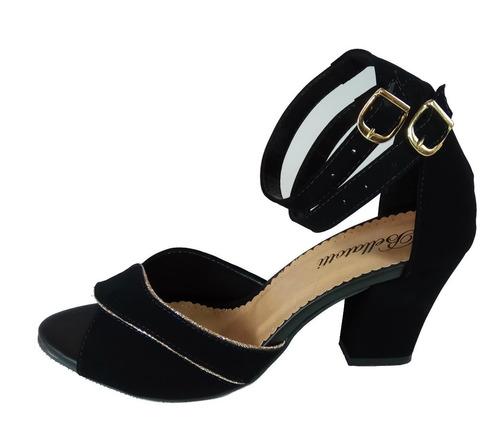 sandália salto médio grosso preta magia