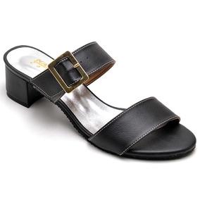 2221df4278 Sandalia Salto Médio Sapato Feminino Rasteira Números Grande