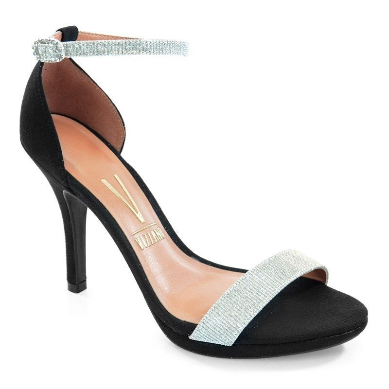 6e5aa4beb8 sandália salto médio vizzano camurça preto prata - 6210414. Carregando zoom.