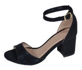 sandália sapato feminina de salto grosso baixo conforto