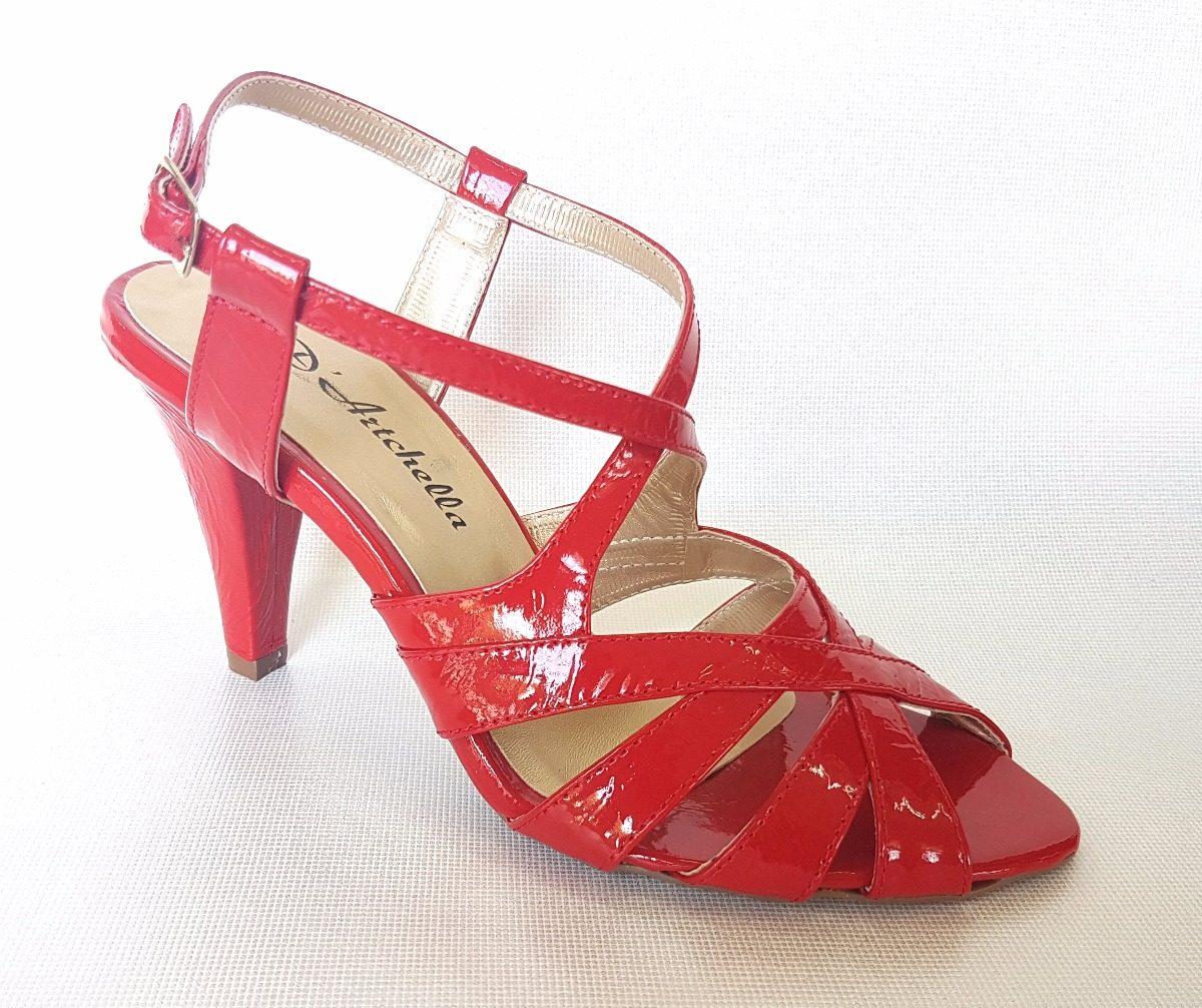 09fc7a90e0 sandália sapato feminino verniz vermelho festa salto 8 fino. Carregando zoom .