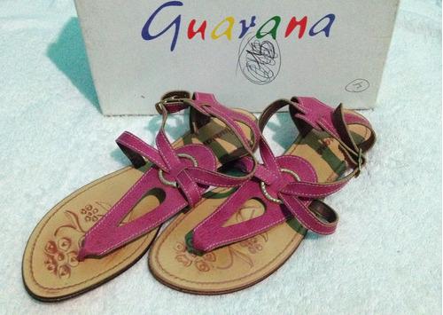 sandalia sin tacon guarana original nueva elegante rosada