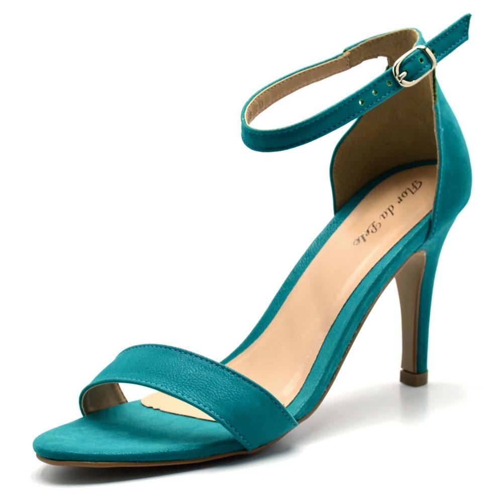 59549ca32e sandália social feminina salto alto fino cor azul turquesa. Carregando zoom.