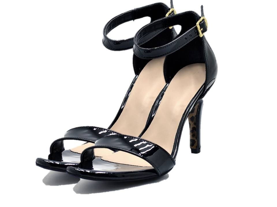 fd5b5a271 sandália social feminina salto alto fino napa verniz preta. Carregando zoom.