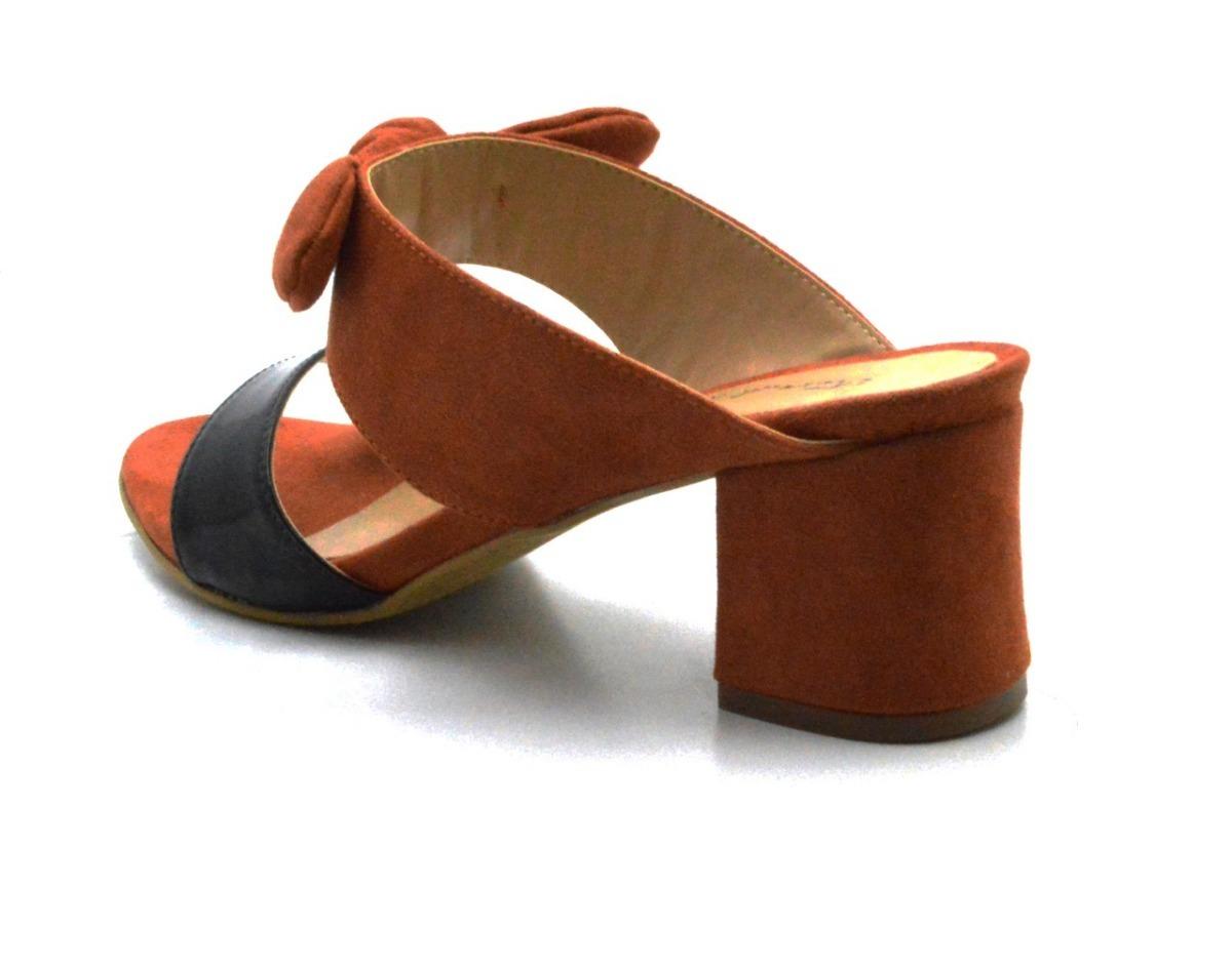 9515b9e5d6 sandália social tamanco feminino tiras laços salto grosso. Carregando zoom.