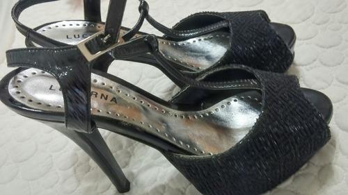 sandalia stiletto fiesta negra plataforma glitter charol 38