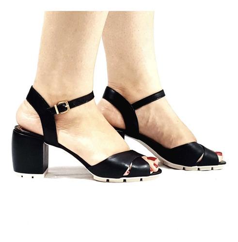 sandália tratorada salto grosso baixo couro leg.carrano 1453