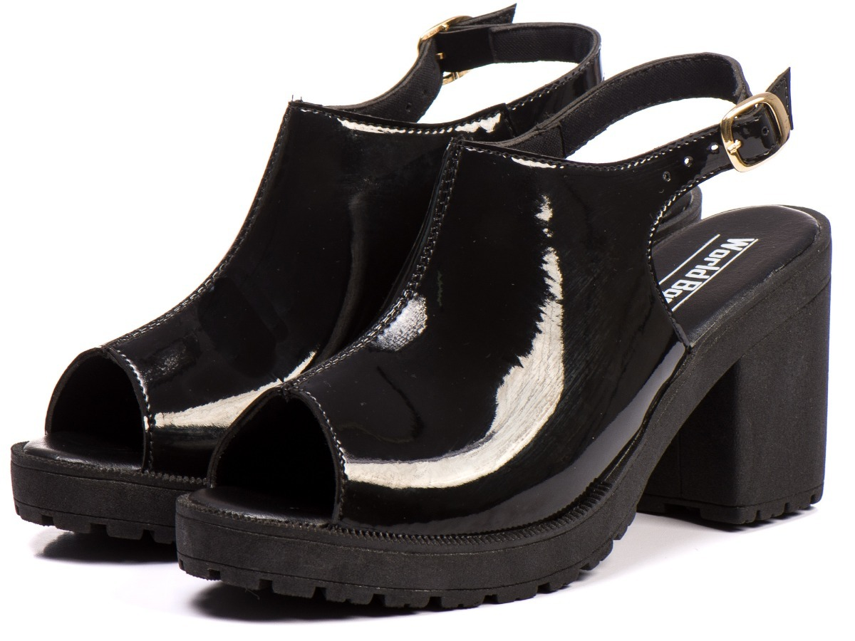 8ddac63fc sandália tratorada verniz salto alto feminina promocao. Carregando zoom.