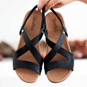 b7627916b Sapato Anabela Usaflex Couro Conforto Duplo Zíper 5766 - Sapatos com ...