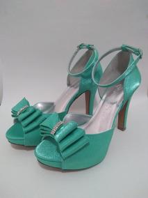 81a6767b40 Sandalia Verde Tiffany Laço E Strass Ms