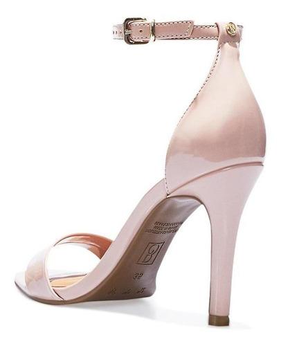sandália verniz bebecê feminina alta salto fino fivela festa