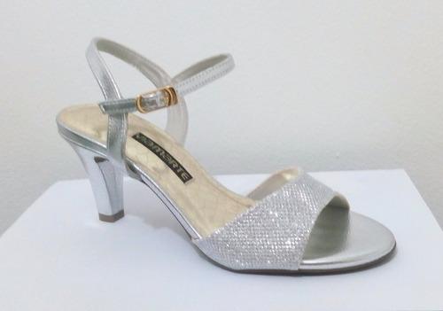 sandália via marte prata preto dourada salto alto baixo 7cm