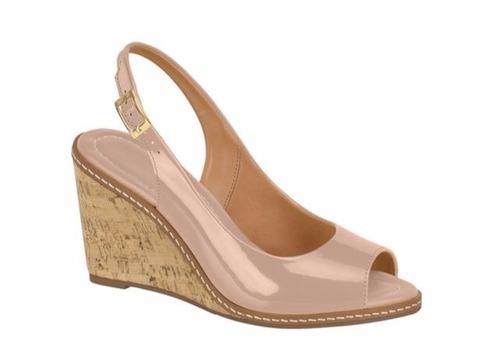 sandália vizzano 6354101 nude anabela alta verniz cortiça