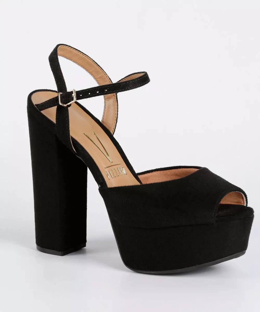 eb4ab6530 sandália vizzano meia pata camurça salto alto original. Carregando zoom.