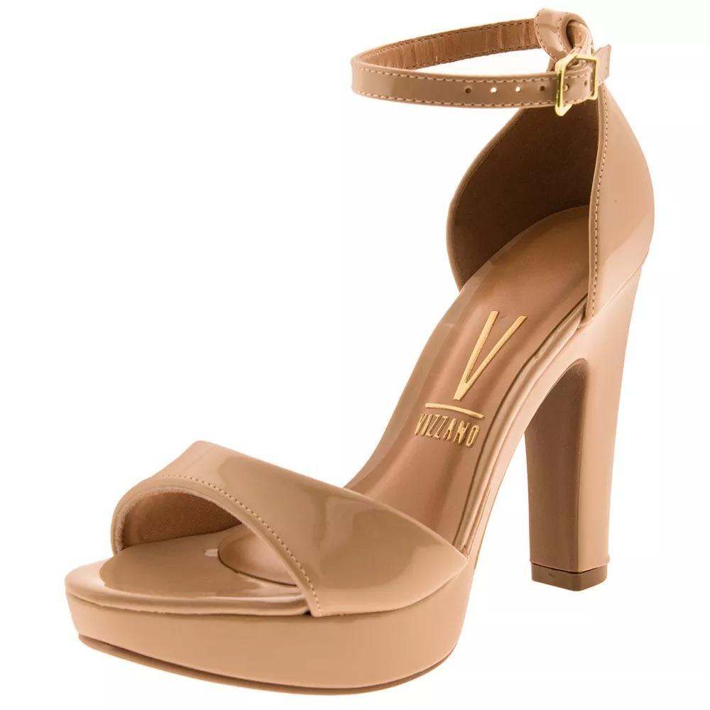 b5f3dfe319 sandalia vizzano nude verniz salto alto grosso meia pata. Carregando zoom.