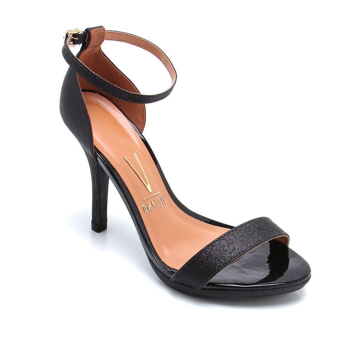 ea89c7a77 sandália vizzano preto glitter salto fino social. Carregando zoom.