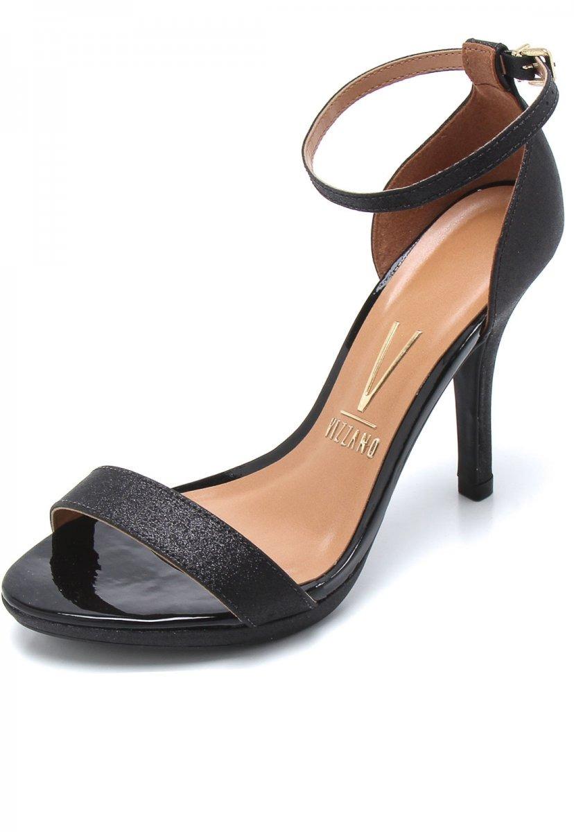 74e8c8fbd sandália vizzano preto glitter salto fino social. Carregando zoom.