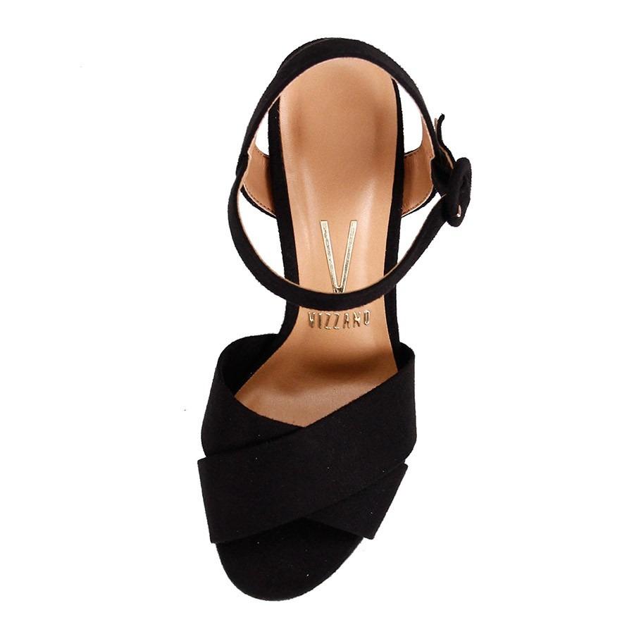aaba6e6e23 sandália vizzano salto alto meia pata camurça preta. Carregando zoom.