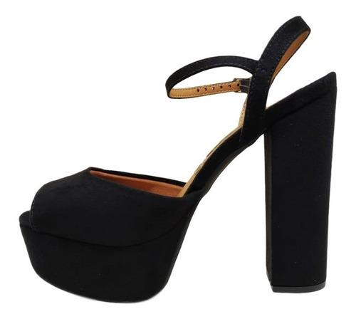 sandalia vizzano salto alto meia pata camurça preto
