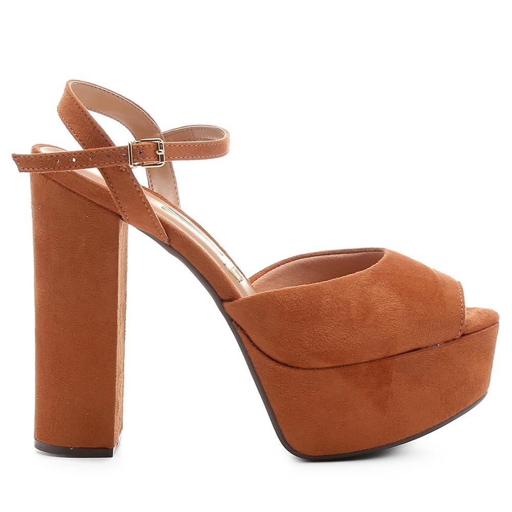 0e3f9877c sandália vizzano salto alto meia pata caramelo- frete grátis. Carregando  zoom.